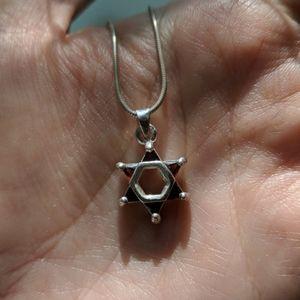 Star of David sterling silver stone pendant